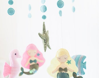 Mermaid Starfish Seahorse Baby Mobile, Bubbles, Ocean Themed Nursery, Sea Mobile, Under the Sea, Baby Girl Mobile, Ocean Nursery Decor