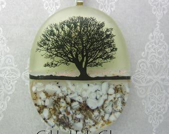 Tree at Sunset Dichroic Pendant, Handmade Fused Glass Jewelry from North Carolina