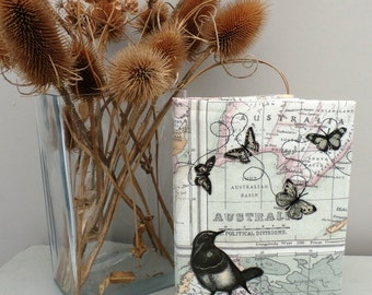 Fabric covered notebook, map design.