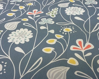 Tablecloth blue orange yellow white plants Flowers Modern Scandinavian Design , napkins , runner , curtains , pillow covers , great GIFT