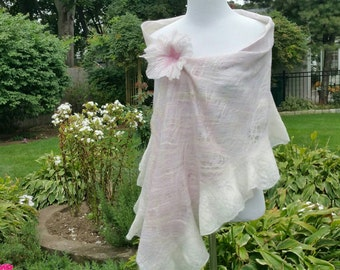 Cobweb Felted Shawl in Pastel Shades. Lacy Lightweight Silk, Wool and Alpaca. Feminine Ruffle Bridal Wrap with Flower Pin.  Wearable Art.