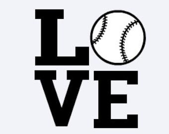 Baseball Decal - Softball Decal - LOVE Decal - Baseball Sticker - Softball Sticker - LOVE Sticker - Sport Decal - Sports Sticker