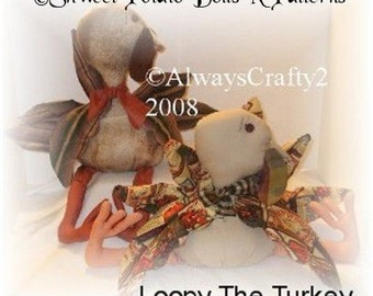 Loopy Turkey Primitive Country Cloth Doll ePattern Thanksgiving Fall Instant Download