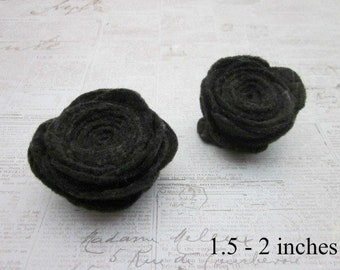 Black Rose Accessory, Black Flower Pins, Black Flower Brooch, Black Lapel Pin, Black Felt Pins, Black Felt Brooch, Black Felt Pin Accessory