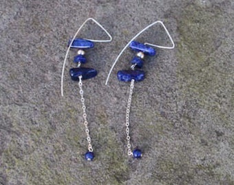 Sodalite Drop & Dangle Sterling Silver Earrings (Limited Edition)