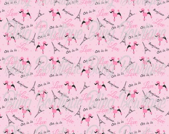 Poodles in Paris on Pink Glitter Canvas Sheet, Faux Leather, Faux Leather Sheets