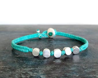 Beaded Friendship Bracelet • Round Flat 925 Silver Beads •