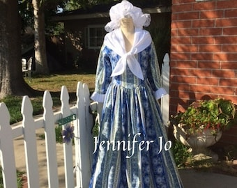 4 pc colonial women's dress milkmaid costume martha washington gown size large -xlarge