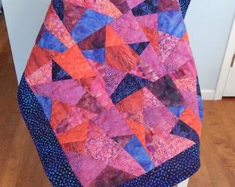 Purple Blue and Red Batik Stars Quilt