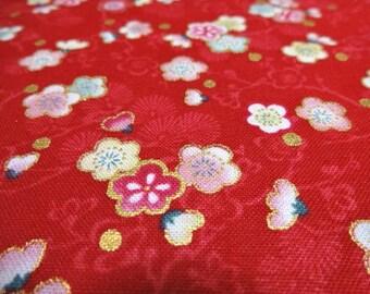Japanese Traditional Fabric  Ume blossom Red Fat Quarter