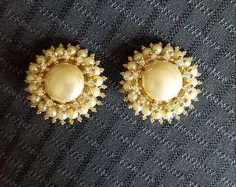 Vintage Regal Pearl and Sparkle Detail Earrings