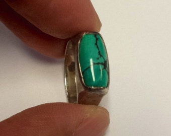 Sterling Silver .925 Ring With Turquoise, Size 7