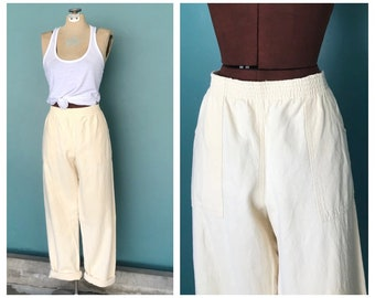 """Yellow Elastic Waist Baggy Trousers, High Waisted, Loose Trousers, Baggy Pants, Relaxed Pants, Lounge Pants, 31"""" Waist Medium Large"""