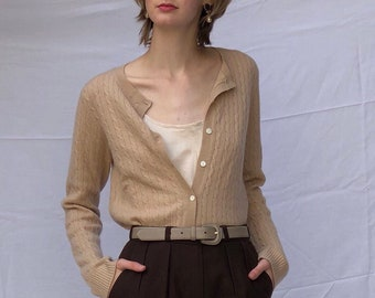 camel cashmere button front sweater / cashmere cardigan / cable knit sweater / vintage cashmere sweater | s m