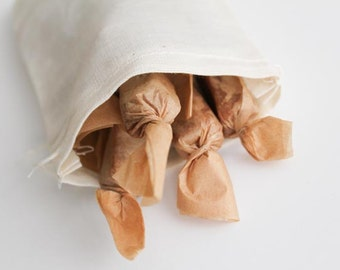 Salted Caramels, Teachers Gift, Para Professional Gift - Handmade Fleur de Sel Caramels 1/4 lb in Eco Reusable Muslin Bag