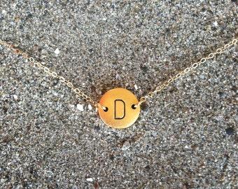 Monogram Necklace, Initial Necklace, Matte gold