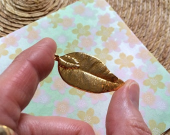 Vintage Gold Leaf Pendant 70's OOAK Handmade Dipped Gold Plated Real Leaf Natural Woodland Charm Nature Retro