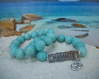 Blue Quartz Bracelet - Namaste Bracelet - Wrist Mala ~ Gemstone Yoga Jewelry - Stretch Stacker Gift Box