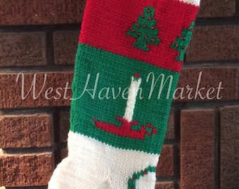 PATTERN for Vintage Candle & Christmas Tree Stocking - HARD COPY mailed to you