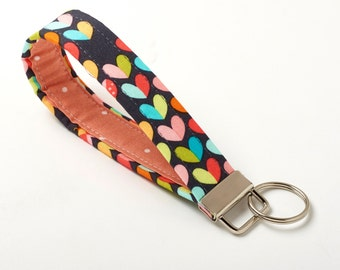 Heart Keychain, Love Key Chain, Wristlet Key Fob - Colorful Hearts - Cute Car Accessories for Women