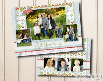 All You Want--Christmas Card Template for Adobe Photoshop, Photographer Template, Instant Download, DIY, Commercial Use