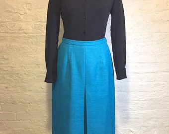 Teal Tea-length Skirt, with Front Middle Pleat, Vintage 1960s, Size 10p, Leslie Fay Dresses Petite