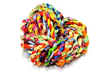Multi-Colored Fabric Twisted Twine, Tattered Rag Rope, Gift Wrap Craft Cord, Textile Fiber Art Yarn, Bright Colors, 10 yards itsyourcountry