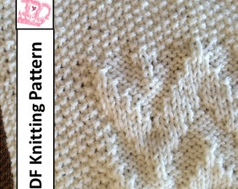 Baby Blanket Knitting Pattern, PDF Knitting Pattern - Chevron Baby Blanket/throw/afghan 28 x 36