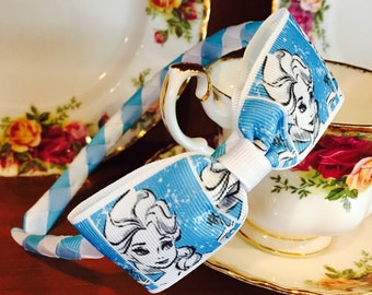 Elsa Snow Queen Woven Headband with Elsa Ribbon Bow attached - Stunning Boutique Quality Blue White Magical