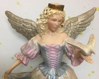 Unique FABERGE Franklin Mint Blue The Princess Of The Ice Palace Angel Holding Dove