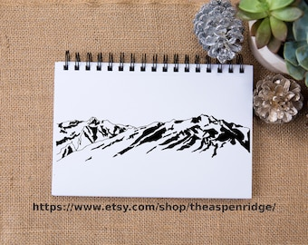 Wasatch Mountain Range III Hand Drawn Clip Art for personal and commercial use with purchase Utah mountains SLC Salt lake city mountains