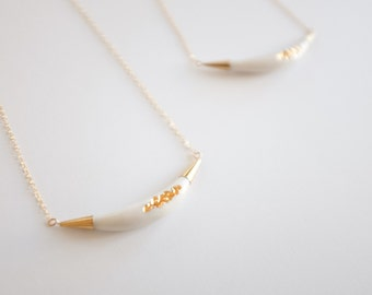22k Gold Carved Arc Necklace - Porcelain Jewelry - Nautical, minimalist jewelry, nickel free, porcelain necklace, porcelain and stone