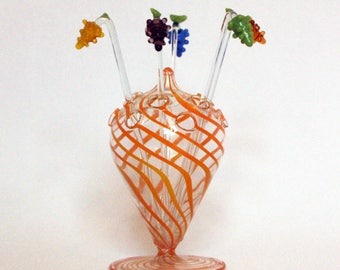 Cocktail skewers-glass holder, hand painted from the 50s