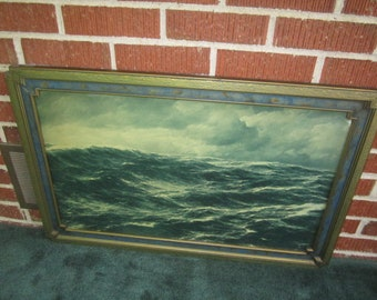 Vintage 1920s Large Stormy Seascape Lithograph in Gorgeous Original Art Deco Frame