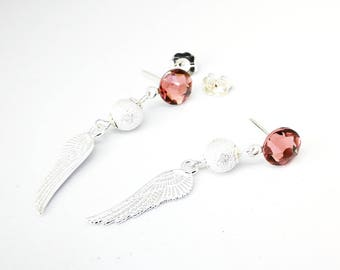 The wings of Angel and Swarovski crystal earrings