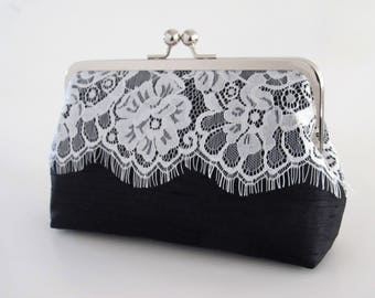 Shantung Eyelash Lace Clutch,Lace Clutch,Bridal Accessories,Wedding Clutch, Bridesmaid Clutch