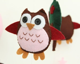 Felt Baby Crib Mobile Pattern. DIY Owl Mobile Sewing PDF. Complete instructions to make an owl mobile.