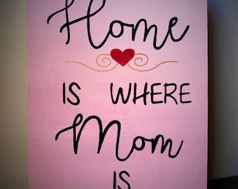 Home is Where Mom is - Hand painted wooden sign, pink, love mom decor, mom home decor, mothers day decor, I love mom, mom sign