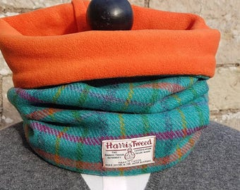 Handmade Scottish Harris Tweed Snood Scarf Neckwarmer Collar