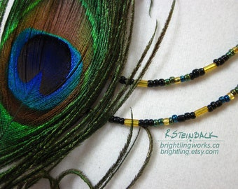 Twin-Strand Necklaces; Carefully Selected and Patterned Seed & Bugle Bead Designs in Striking Abstract Colour Combinations.