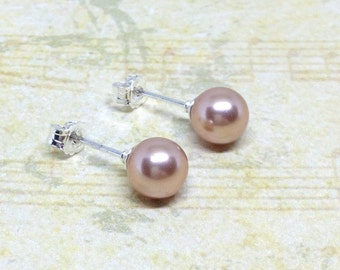 Rose Gold Pearl Stud Earrings, Rose Gold Studs, Sterling Silver Earrings, Stud Earrings, Bridesmaid Studs, Swarovski Pearl Earrings