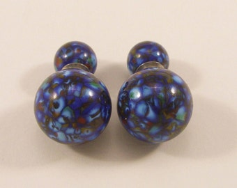 Murano glass double beads earrings, double sided earring, glass jewelry, surgical steel, Sterling silver, Made in Italy