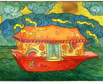 Fine Art Greeting Card, Le Reve Dream Boat Hand Made, Archival Reproduction of an original watercolor etching.