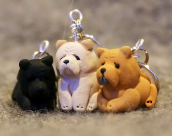 Chow Chow Stitch Markers  set of 3 Miniature Polymer Clay Dog Puppy Sculpted Knit Crochet Accessories