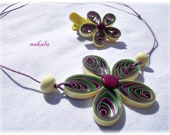 Jewelry Bohemian vintage varnished and hardened paper flower necklace