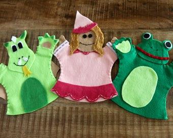 Dragon, Princess and Frog Hand Puppet Set (set of 3 puppets)