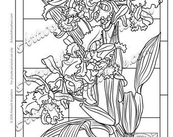 Delicate Frilled Orchids ~ Adult coloring page printable digital download ~hand drawn flowers squares~ Orchids on Glass by Artwork Anywhere