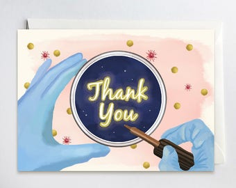 Thank You Card for Microbiology professor, Chemistry, Biology, Science professor, illustration of positive result, with envelope, 5 x 7 inch
