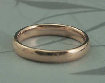 14K Gold 4mm Comfort Fit Plain Jane Wedding Band--Your Choice of Rose, White or Yellow Gold--Custom Made in Your Size