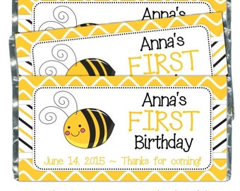 Bee Birthday Party Candy Wrappers, first birthday candy wrappers, fit over 1.55 oz chocolate bars, Honeybee Party, Bumblee Birthday